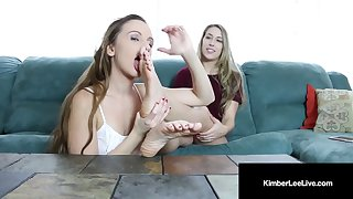 kimber lee & ashlynn taylor do a sexy horny foot fetish show