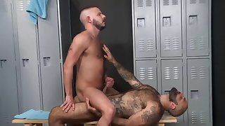 muscle hairy guys do it in the locker after workout