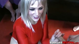 blonde porscher wells sucking off multiple cocks
