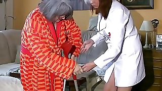 BBW chubby Nurse jack with old Granny